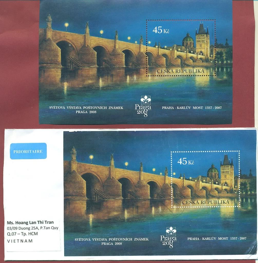 Czech real posted cover with Bridge MS